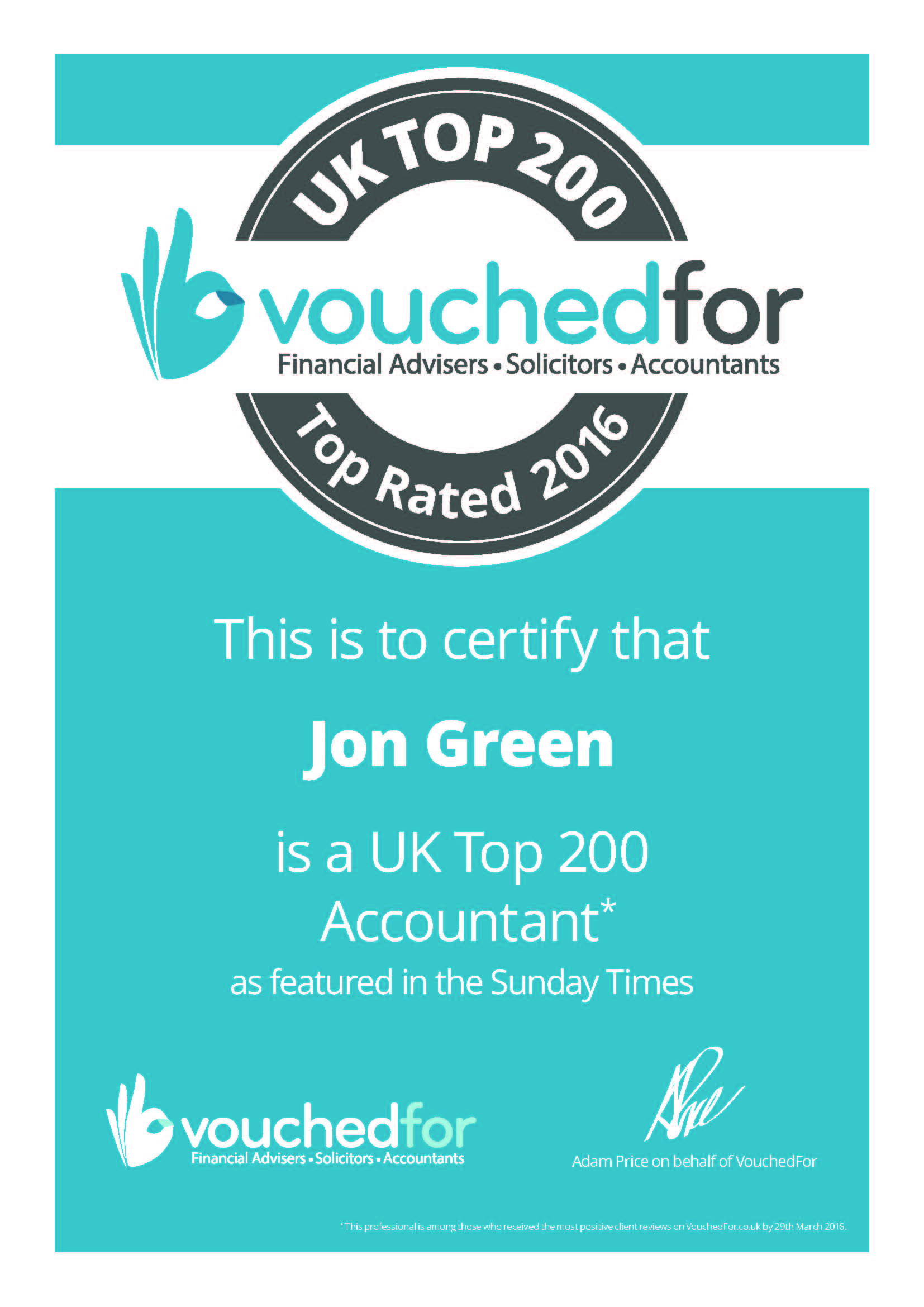 Top 200 UK Accountant certificate from VouchedFor